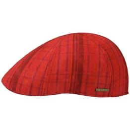 Stetson Texas Cotton Checked Flatcap Schirmmütze Sommercap Sonnencap Sommermütze Herrencap Cap Kappe Baumwollcap Schiebermütze (M/56-57 - rot) -