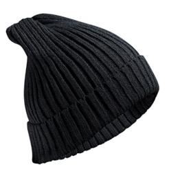 [Strickmütze] Freetoo klassische Beanie Mütze feinstrick Umschlagmütze Skimütze schwarz unisex -