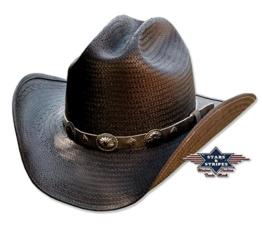 Strohhut Bronx Cowboyhut Schwarz Biker Hutband , Größe (Kopfumfang):XL -