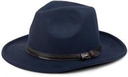 styleBREAKER Fedora Filzhut mit Zierband aus Kunstleder, Cowboy Hut, Unisex 04025007, Farbe:Dunkelblau -