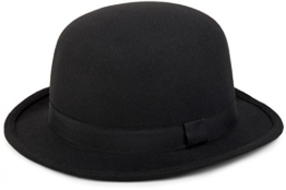 styleBREAKER Melonen Hut, Filzhut mit schmaler Krempe und schwarzem Zierband, Bowler Hut, Unisex 04025006, Farbe:Schwarz -