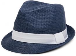 styleBREAKER Trilby Hut, leichter Papierhut mit kontrastfarbigem Zierband, Unisex 04025002, Farbe:Dunkelblau / Weiß;Größe:S / M = 56 cm -