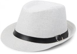 styleBREAKER Trilby Hut, leichter Papierhut mit schwarzem Gürtel Zierband, Unisex 04025003, Farbe:Weiß -