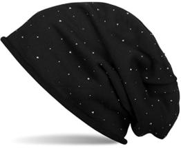 styleBREAKER warme klassische Beanie Mütze mit Strass-Nieten Applikation und Rollrand, Unisex 04024024, Farbe:Schwarz -
