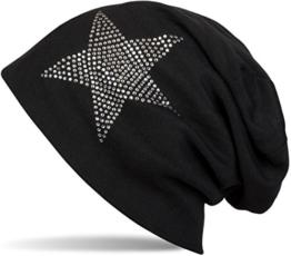 styleBREAKER warme klassische Unisex Beanie Mütze mit Stern Strass Applikation 04024023, Farbe:Schwarz -
