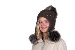 Tatra Mütze M 108 Mütze mit Fleecefutter, Pudelmütze, Wintermütze mit Fellbommeln aus Fellimitat -