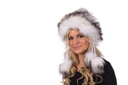 Tatra Mütze T 150 Mütze mit Fleecefutter, Pudelmütze, Wintermütze mit Fellbommeln aus Fellimitat -