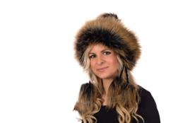 Tatra Mütze T 151 Mütze mit Fleecefutter, Pudelmütze, Wintermütze mit Fellbommeln aus Fellimitat -