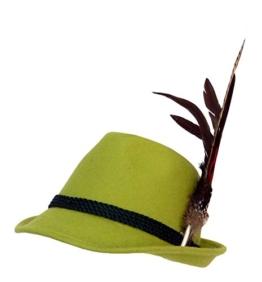 Trachtenhut apfelgrün mit edler großer Feder 59 -