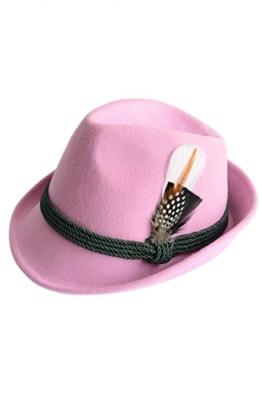 Trachtenhut aus 100% Wolle mit echter Feder, Farbe rosa Gr. 55 -