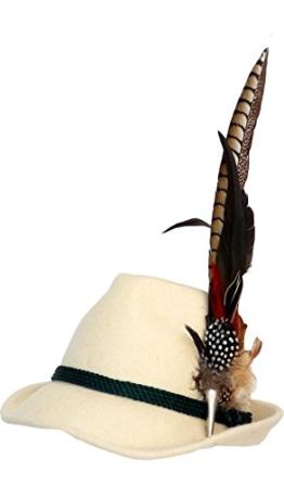 Trachtenhut naturweiß mit edler großer Feder 59 -