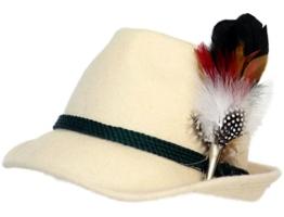 Trachtenhut naturweiß mit edler kleiner Feder 59 -