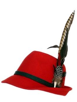 Trachtenhut rot mit edler großer Feder 59 -