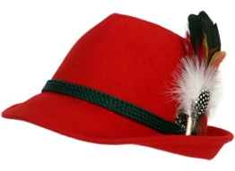 Trachtenhut rot mit edler kleiner Feder 59 -