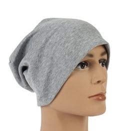 Ultraleichte Sommer Unisex Beanie in grau klassische Mütze Slouch Cap Unisex waschbar mit Stretchanteil -