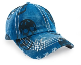 Unisex Baumwolle Baseball Cap Skull Schädel Jeans Sport Mütze Baseballkappe Snap back Trucker (Blue) -
