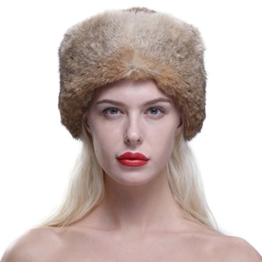 URSFUR Frauen Echte Kaninchen Fell mit schönen Waschbär Schwanz Fellmütze Davey Crockett Hat Coonskin Cap -