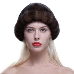 URSFUR Frauen Luxus Pelzmütze aus Echte Fell Wintermütze Baskenmütze Rundmütze -Kaffee -