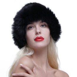 URSFUR Frauen Schöne Pelzmütze aus Echte Fell Fedora Strickmütze Wintermütze Baskenmütze Rundmütze -schwarz -
