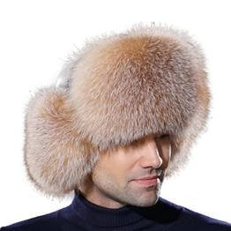 URSFUR Warme Unisex Echte Fellmütze Fuchspelz Russland Wintermütze Trappermütze Ushanka L-Gold -