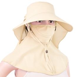 Vbiger Damen Sonnenhut UV-Schutz Sommerhut Fischerhut mit Atmungsaktiv breiter Rand und Maske UPF50 + -