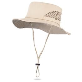 Vbiger Sonnenhut Fischerhut Outdoor Hut Fischermütze mit Kinnband Boonie für Herren und Damen -