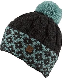 VIOLA -Strick Mütze mit Innenfleece Damenmütze Strickmütze mit trendigen Muster und Bommel-handmade in Nepal-100% Wolle (natural black / baltic) -