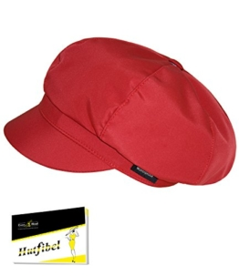 Wasserabweisende Fiebig Ballonmütze Kappe Damenmütze Regenhut Regenmütze Übergangsmütze einfarbig für Frauen (FI-67372-S16-DA0) inkl. EveryHead-Hutfibel (ca. 55-57cm Kopfumfang, Burgundy) -