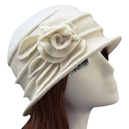 West See Damen Vintage Wolle Cloche Bucket Hut Beret Topfhut mit Blumendetail Wintermütze (beige) -