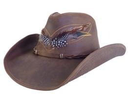 Western-Lederhut Outback, Farbe: braun, Gr. M (57-58 cm / 22,5 Inch) -