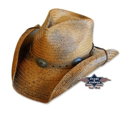 Western Strohhut Red Rock Gr. XXL - Stars & Stripes Hut Western Wild West Line Dance Kleidung -