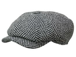 Wigens Wilmer Ballonmütze Schirmmütze aus Wolle schwarz/weiß 55 -