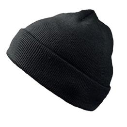 Wind Doppelstrickmütze Umschlagmützen Wintermütze (One Size - schwarz) -