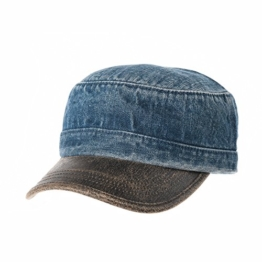 WITHMOONS Baseballmütze Army Cadet Cap Denim Vintage Hat Faux Leather Brim NC4691 (Blue) -