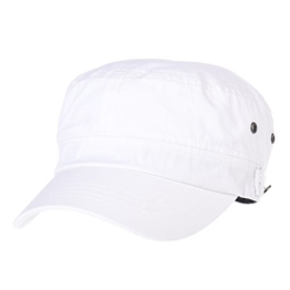 WITHMOONS Baseballmütze Army Cadet Cap Cotton Vintage Washed Army Military Hat CR4455 (White) -