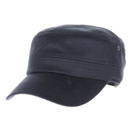 WITHMOONS Baseballmütze Army Cadet Cap Coated Faux Leather Army Military Hat CR4456 (Navy) -