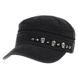 WITHMOONS Baseballmütze Army Cadet Cap Military Skull Stud Cotton Army Hat DW4411 (Black) -