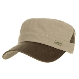 WITHMOONS Baseballmütze Army Cadet Cap Faux Leather Brim Patch Cotton Hat CR4325 (Beige) -