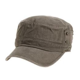WITHMOONS Baseballmütze Army Cadet Cap Cotton Vintage Hat Side Revets NC4731 (Brown) -