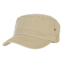 WITHMOONS Baseballmütze Army Cadet Cap Cotton Vintage Distressed Washed Hat CR4267 (Beige) -