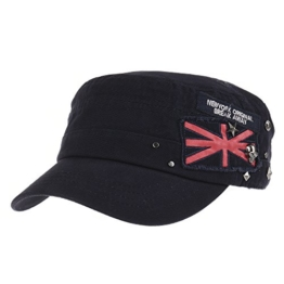 WITHMOONS Baseballmütze Army Cadet Cap Skull Star Studs Union Jack Cotton Hat CR4374 (Navy) -