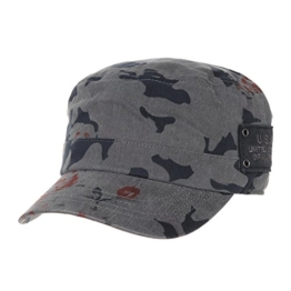WITHMOONS Baseballmütze Army Cadet Cap Floral Camouflage US Army Patch Military Hat CR4468 (Grey) -