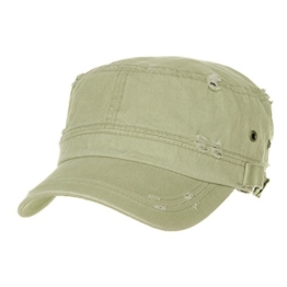 WITHMOONS Baseballmütze Army Cadet Cap Cotton Vintage Distressed Washed Hat CR4267 (Olive) -