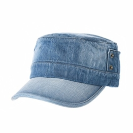 WITHMOONS Baseballmütze Army Cadet Cap Cotton Vintage Distressed Washed Hat NC4692 (Blue) -