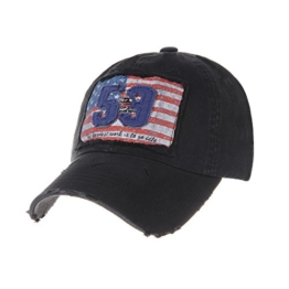 WITHMOONS Baseballmütze Mützen Caps Baseball Cap Distressed Trucker Hat Flag Stars Stripes KR1189 (Black) -