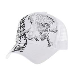 WITHMOONS Baseballmütze Mützen Caps Meshed Baseball Cap Skull Rhinestones Trucker Hat KR1751 (White) -