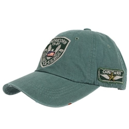 WITHMOONS Baseballmütze Mützen Caps Vintage Baseball Cap Eagle Capricorn Hat Destressed CR1012 (Green) -