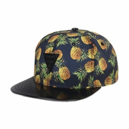 WITHMOONS Baseballmütze Mützen Caps Summer Palm Tree Pattern Faux Leather Brim Snapback Hat CR2236 (Black) -