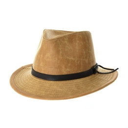 WITHMOONS Cowboyhut Indiana Jones Hat Weathered Faux Leather Outback Hat GN8748 (Beige) -