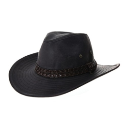 WITHMOONS Cowboyhut Indiana Jones Hat Weathered Faux Leather Outback Hat GN8749 (Black) -